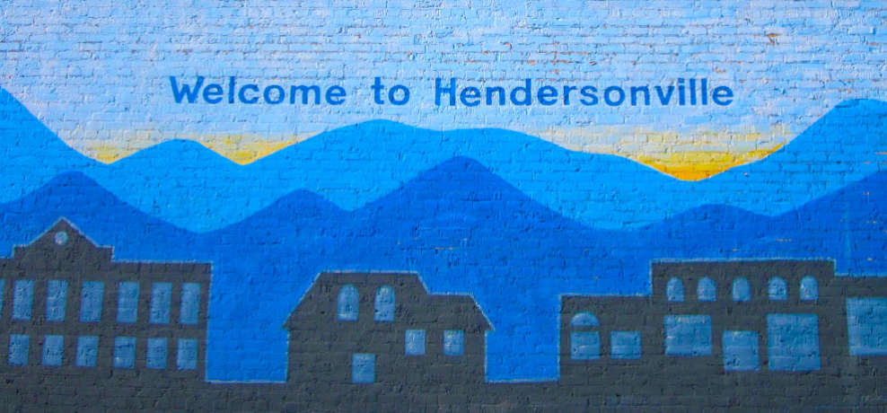 Welcome to Hendersonville mural in downtown.