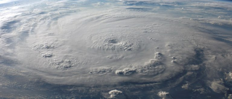 A satellite image of a hurricane.