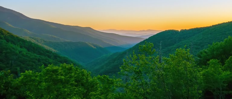 The Blue Ridge Mountains during the morning.