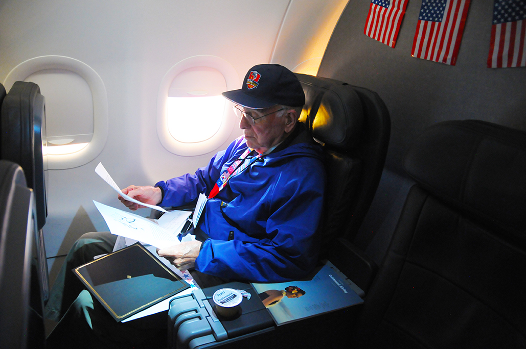 A veteran flying to DC with help from Blue Ridge Honor Flight.