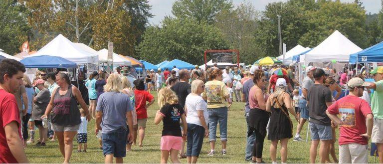 Festival-goers at a popular vegetarian festival.