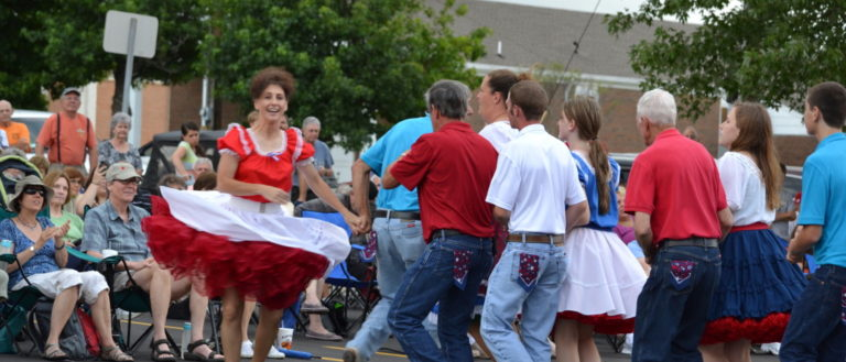 Dancers on Main Street during the Hendersonville Street Dance Series.