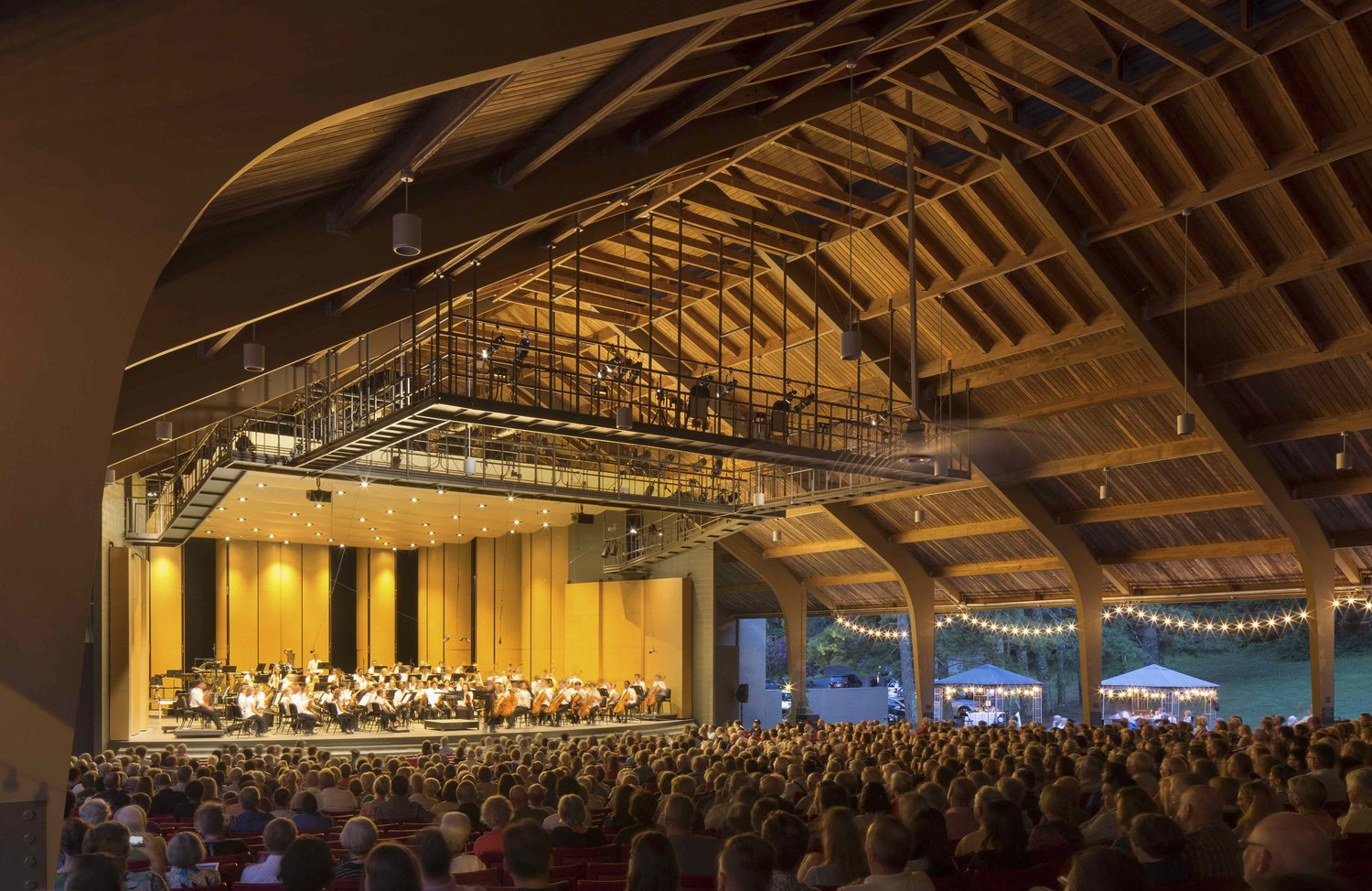 A wide-angled view of Brevard Music Center's Whittington-Pfohl Auditorium.