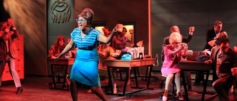 Performers on stage during Flat Rock Playhouse's How To Succeed In Business Without Really Trying.