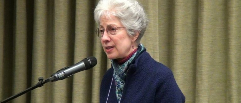 Rev. Marjorie Thompson speaking to an audience.