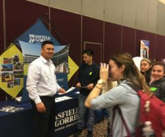 Students at the Brasfield & Gorrie booth at the Hispanic Educational Summit.