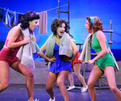 Maddie Franke, Sarah Stevens, and Maria Buchannan on stage during South Pacific at Flat Rock Playhouse.