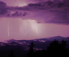 Lightning over Lost Cove Cliffs, seen from Grandfather Mountain.
