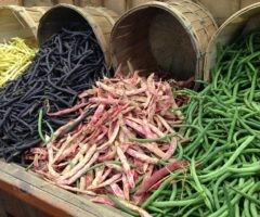 A variety of beans, including green and purple.