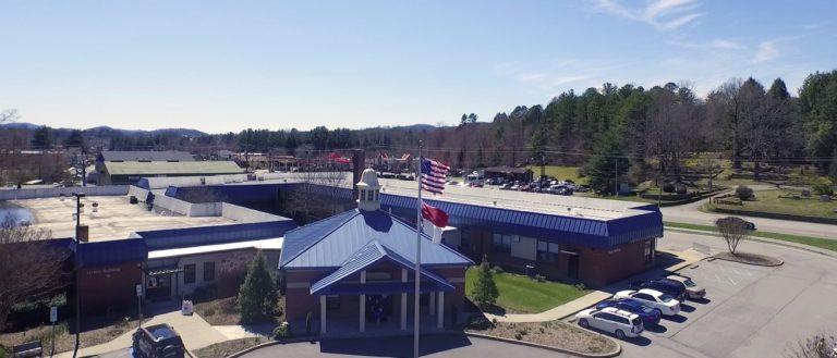 An aerial view of Blue Ridge Community College's Transylvania campus.