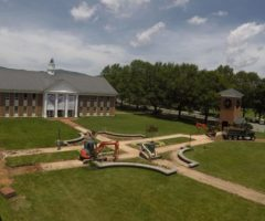 Construction on the Brevard College campus during the summer vacation.